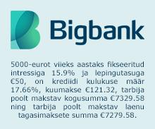 BIGBANK LAEN KINNISVARA TAGATISEL: alates €10 000, intressiga 9% aastast ja kuni 15 aastaks.