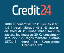 Credit24 krediidikontoga on võimalik saada krediiti kuni €3000 perioodina kuni 3 aastat.