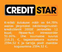 Creditstar personaalne laenukonto võimaldab €50 kuni €2000 krediidilimiiti perioodiga 5 päeva kuni 12 kuud.