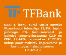 TF Bank pakub väikelaenu summas €500 kuni €5000 laenuperioodiga 1 kuni 5 aastat.