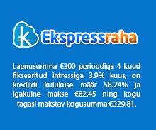 Ekspressraha pakub kiirlaenu summas €50 kuni €2000.