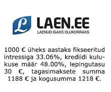Laen.ee pakub laenu kinnisvara tagatisel alates €1000 ning laenusummas kuni 80% tagatise turuväärtusest.