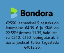 Bondora vahendab tagatiseta väikelaenu eraisikutelt summas kuni €10 000.