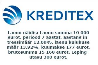 Kreditex Ühisraha ärilaen €1000 kuni 15 aastaks.